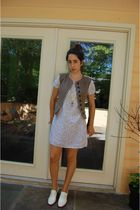 white nightie dress vintage dress - white loafers brogues Steve Madden shoes