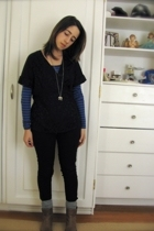 Marc by Marc Jacobs top - vince top - Blank pants - socks - boots - H&M necklace