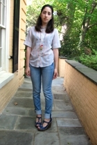 vintage etsy top - H&M jeans - Topshop shoes - necklace
