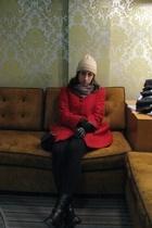 red Forever 21 coat - black boots - beige vintage hat - gray vintage scarf