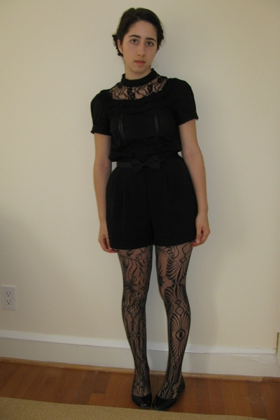 black lace top H&M top - black lace DKNY tights