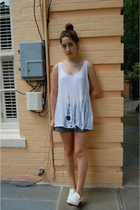 white shredded tank H&M DIY top - white brogues Steve Madden shoes