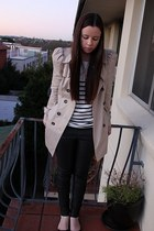 white portmans top - beige Zara coat - black Topshop leggings