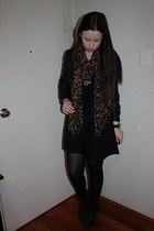 black Aldo boots - black Forever New dress - black BCBGMAXAZRIA jacket