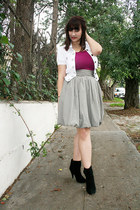 black ankle boots - white jacket - magenta tank top top