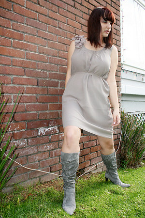 charcoal gray Macys boots - heather gray dress - ivory The Limited jacket