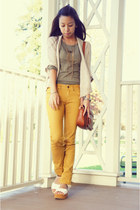 tawny vintage bag - silver claw OASAP shoes - olive green Zara shirt