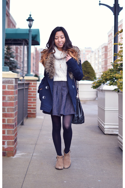 heather gray Macys sweater - navy Forever 21 jacket - black nastygal bag