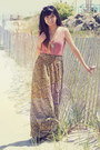 Blue-maxi-mink-pink-skirt-light-yellow-forever-21-necklace