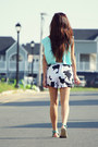 Light-blue-open-back-zara-blouse-white-cow-print-aupie-shorts