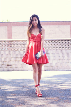 red skater 10DollarMall dress - ruby red soiree Jeffrey Campbell heels