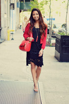 red Zara sweater - black lace sammydress skirt - beige Jeffrey Campbell heels