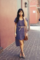 light purple free people dress - bronze vintage bag - silver shoe gallery wedges