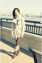 brown ankle boots Local store shoes - heather gray Zara jacket - silver my siste