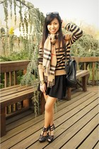 Forever 21 sweater - Burberry scarf - vintage coach bag - Forever 21 heels