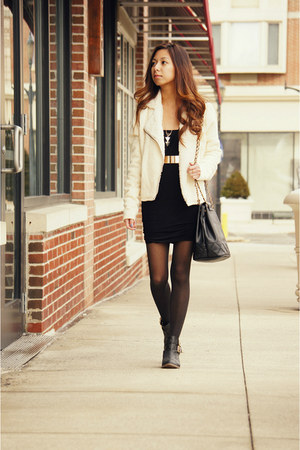 black OMG Fashion dress - cream Urban Outfitters jacket - black asos bag
