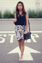 black tropical H&M skirt - black cut out for elyse blouse