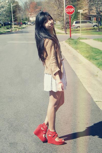 camel Zara cardigan - red Forever 21 bracelet - ivory Urban Outfitters skirt