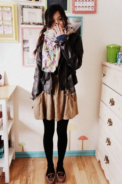 dark brown loafers Libby Edelman shoes - black leather jacket no brand jacket -