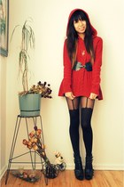 red hooded Anthropologie sweater - black suspenders asos tights - dark green sca