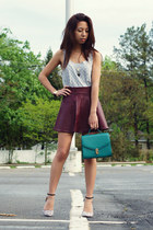 magenta romwe skirt - teal Forever 21 bag - periwinkle Market in Hong Kong top