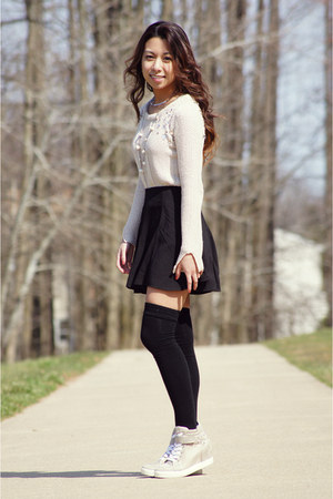 black romwe skirt - black Soxxy socks - silver Ebay necklace - beige Zara jumper