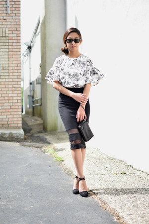 white Front Row Shop blouse - black Zara heels