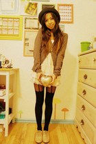 beige oxfords no brand shoes - black heart suspender asos tights - eggshell hear