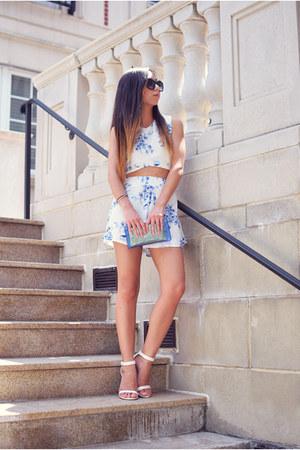 blue New Dress dress - blue Nasty Gal bag - white Anne Michelle heels