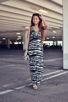 black zebra Design History dress - white creepers OASAP wedges