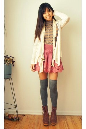 heather gray thigh high asos socks - ivory crochet Urban Outfitters cardigan - s