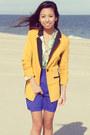 Blue-chiffon-vintage-havana-skirt-mustard-mustard-mart-of-china-blazer