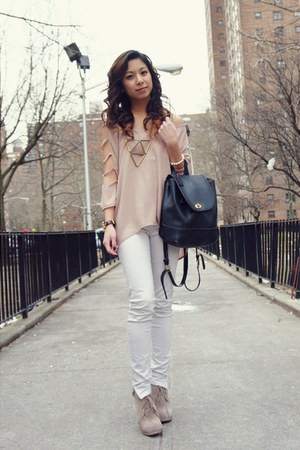 neutral SwayChic blouse - black coach bag - brick red Michael Kors watch
