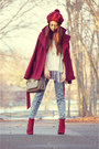 Maroon-suede-deb-boots-maroon-oxblood-charlotte-russe-coat