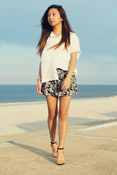 black Uniqlo shorts - white random from Hong Kong blouse