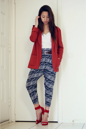 ruby red Forever 21 blazer - dark brown talbots belt