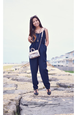 light pink mohzy bag - navy Finders Keepers romper - black deb heels