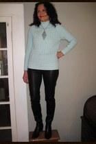 light blue mint cable knit kohls sweater - black ankle boots Steve Madden boots