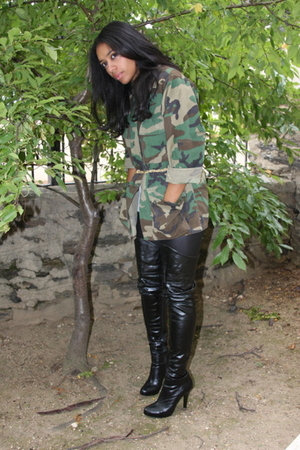 green army & navy coat - black Zara boots - black American Apparel leggings