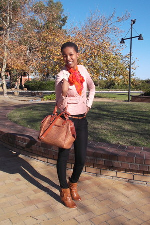 orange scarf - bronze Aldo boots - light orange YDE blazer - Celine bag