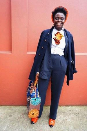 orange Ebay loafers - navy H&M jacket - box dufflle CJAJ09 bag