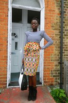tribal print CJAJ09 skirt - Ebay boots - Wallis bag - striped top CJAJ09 top