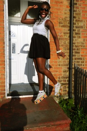 Ray Ban sunglasses - creepers H&M skirt - DIY wedges - sheer CJAJ09 top