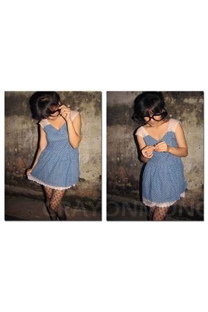 blue crayonmono dress