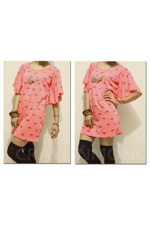 pink crayonmono dress