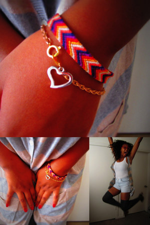 heart charm handmade bracelet - chevron handmade bracelet - boyfriend H&M shorts