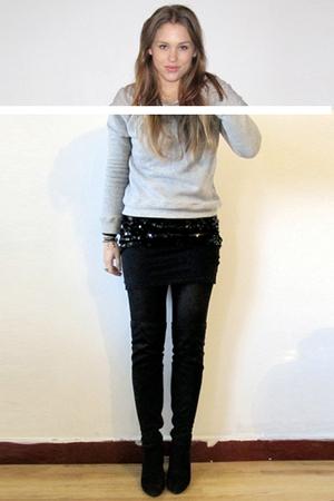 black imperial dress - gray Zara sweater - black Zara boots