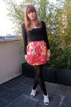 red Zara skirt - black American Apparel dress - black H&M tights - gray acne sho
