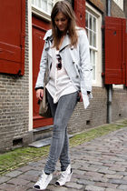gray pieces jeans - gray River Island coat