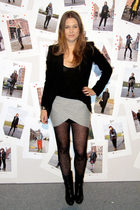 black Zara blazer - black COS boots - black COS top - gray H&M skirt